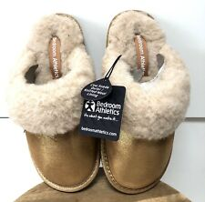 Womens Bedroom Athletics Molly Chestnut Suede Faux Fur Mule Slippers Uk Size