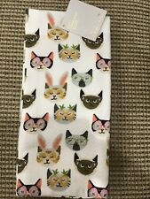 HOP AWAY HOME KITCHEN TOWELS (2) CATS BUNNY EARS 100% COTTON NW