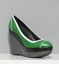 ESCADA HIGH HEEL PLATFORM WEDGES Green/Gray LEATHER sz 10 New $475