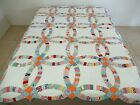 FULL Vintage Hand Quilted Feed Sack Floral & Novelty Prints WEDDING RING Quilt