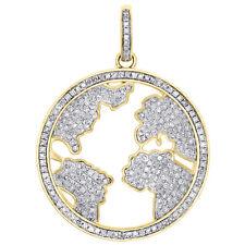 "10K Yellow Gold Genuine Diamond World Map Pendant 1.70"" Globe Pave Charm 1.52 CT"