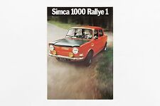 Depliant Simca 1000 Rallye 1 - 1972 - Catalogo Pieghevole Brochure Leaflet Adv