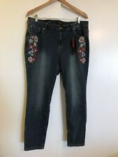 EARL JEANS Skinny Ankle Jeans Embroidered 20W NWT Plus New with Tags