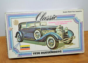 Vintage Lindberg 1936 DUESENBERG Model Kit 1979 1/32 Scale