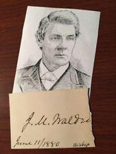 John Morgan Walden Signed, Methodist Bishop, Freedman'S Aid Society, Editor