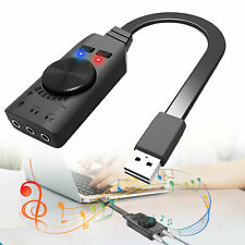 USB External Surround Sound Card Audio Adapter 3.5mm Earphone Mic Jack Converter