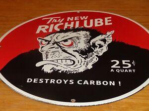 "VINTAGE RICHFIELD RICHLUBE APE GORILLA 11 3/4"" PORCELAIN METAL GASOLINE OIL SIGN"