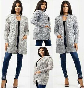 Ladies Chunky Knitted Long Sleeve 2 Open Pocket Boyfriend Jumper Cardigans