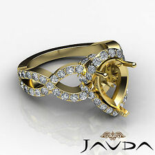 Diamond Engagement Pave Cross Shank Ring Pear Semi Mount 14k Yellow Gold 0.8Ct