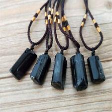 Women Men Black Natural Tourmaline Stone Pendant Necklace Crystal Specimen Craft