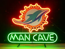 """New Man Cave Miami Dolphins Neon Light Sign 14""""x10"""" Beer Gift Bar Real Glass"""