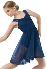 Figure Skating Dress Dance Costume Ice Dance Shirred Navy Tulle Size AXL
