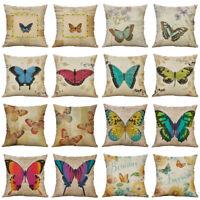 18'' Vintage Butterfly Cotton Linen Pillow Case Home Decor Pillow Cushion Cover