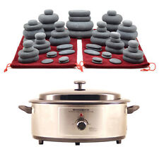 MassageMaster HOT STONE MASSAGE KIT: 60 Basalt Stones + 6.5 Quart Heater