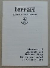 Ferrari Owners Club UK Statement of Accounts 1993 no book buch brochure prospekt