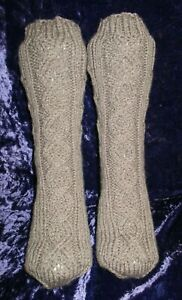Hand Knitted Ladies aran socks Fully Cabled Koala 5- 6 25%Wool (9)