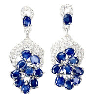 Heated Oval Blue Sapphire 4x3mm Cz White Gold Plate 925 Sterling Silver Earrings