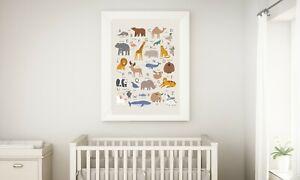 ABC Animal Alphabet print -Nursery Kids Decor Wall- Art Print - new baby gift