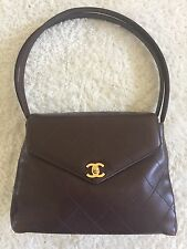 Chanel Brown Leather Single Flap Kelly Shoulder Bag Tote Gold HW