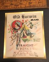ANTIQUE INDIAN TEPEE Quart Size WHISKY LABEL LITHOGRAPH OLD HARWIN BRAND