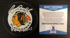 DIRK GRAHAM SIGNED CHICAGO BLACKHAWKS OFFICIAL 90'S GAME PUCK BECKETT COA F19381