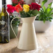 22cm Vintage Cream Enamel Metal Jug Pitcher Flower Pot Vase Wedding Table Decor