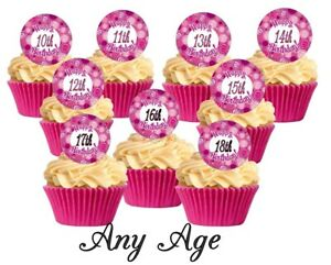 12 Pink Cute Swerl Happy Birthday All Ages Edible Cupcake Decorations Toppers