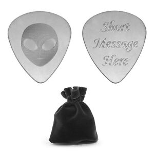 Personalised Plectrum Engraved Guitar Pick with Grey Alien Head Musicians Gift