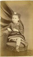1870s Antique Victorian CDV Carte de Visite Photo Pretty Young Girl Period Dress