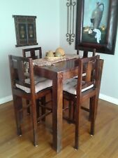 Dark Wooden Dining Table Set Counter Height High Top Chair