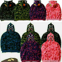 A Bathing Ape BAPE Men's Shark Jaw Camo Full Zipper Hoodie Sweats Jacket Coat-UK