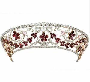 Red Pear & Cultured Pearl Kokoshnik Tiara Diamond Floral Wedding Royal Jewelry