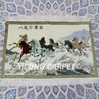 YILONG 2'x3' 500Lines Handknotted Silk Eight Horses Tapestry Area Rugs TJ073H
