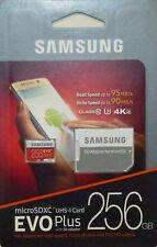 SAMSUNG EVO PLUS 256GB MicroSD SDXC UHS-I Class10 U3 95MB/s With SD Adapter NEW