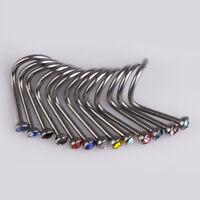 20PCS Mix Colors Rhinestone Nose Studs Ring Bone Bar Pin Body Piercing Jewelry