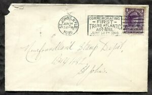 p1434 - St John's Newfoundland 1929 Airmail Slogan on Local Cover, faults ✉