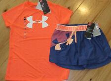 Under Armour logo top & blue logo shorts NWT girls M YMD