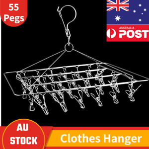 55Pegs Stainless Steel Hanger Laundry Sock Underwear Clothes Airer Dryer Rack AU