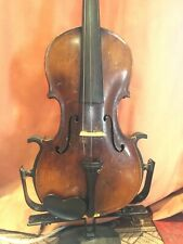 Old Violin With Old Wooden Case And Two Bows. One Piece Back.