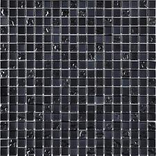 1 SQ M Black Mix Glass Mosaic Wall Tiles Lustrous Bathroom Shower 0098