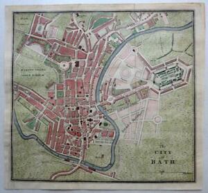 CITY OF BATH TOWN PLAN  c1815 GENUINE ANTIQUE ENGRAVING MAP