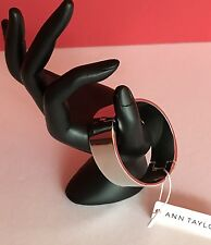 New Ann Taylor Women's Silver Color 1 Inch Wide Bangle Bracelet NWT Gift Boxed