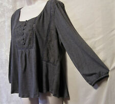 BOHO Gray American Eagle Outfitters Gypsy-Style Top! Embroidered Yoke! Lg.