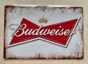 BUDWEISER BEER METAL PLAQUE SIGN MAN CAVE BAR PUB CAFE GARDEN 20x30cm