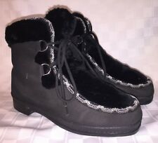 Womens 8 QUODDY MOCCASINS 88488 Moc Toe Fur Furry Lined Sherpa Ski Ankle Boots