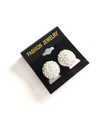Silver Round Diamanté Clip on Earrings Studs Clips Ear Fashion Jewellery Gift