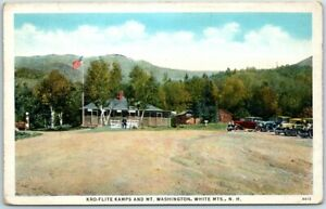 "New Hampshire White Mountains Postcard ""KRO-FLITE KAMPS & Mt. Washington"" c1930s"