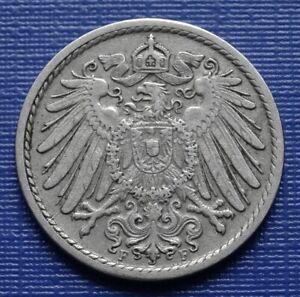 Germany 5 Pfennig Coin, 1907 (F) Wilhelm II~KM#11~CuNi 2.5g~VF+~#471