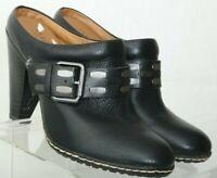 Sofft Euro Soft Black Pebbled Buckle Slip On Comfort Clog Mules Women's US 6 M