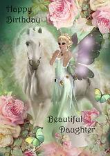 Birthday Card ~ Greeting Card Beautiful Daughter Unicorn ~ fairy Luxury handmade